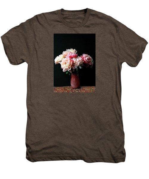 Pink Peonies In Pink Vase Men's Premium T-Shirt