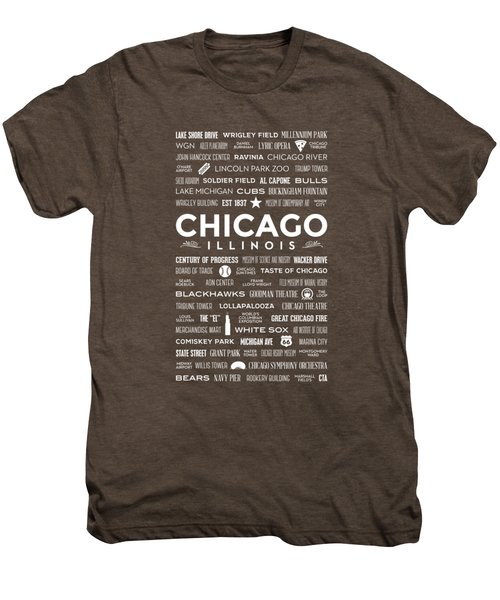 Places Of Chicago On Red Chalkboard Men's Premium T-Shirt by Christopher Arndt