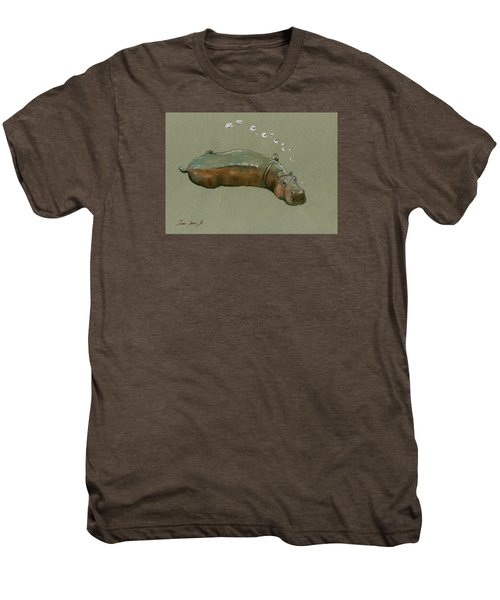 Playing Hippo Men's Premium T-Shirt by Juan  Bosco