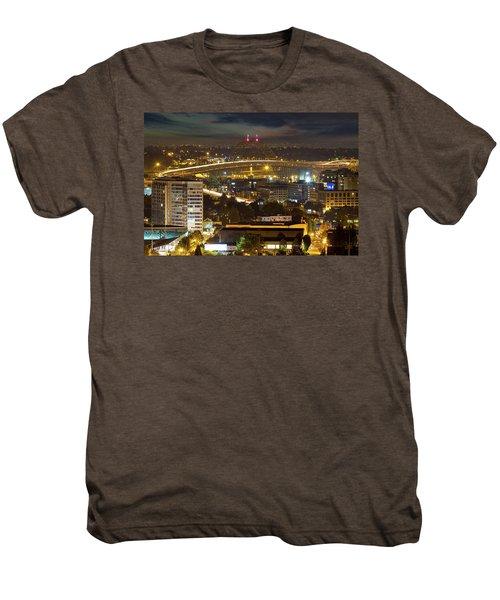 Portland Fremont Bridge Light Trails At Night Men's Premium T-Shirt