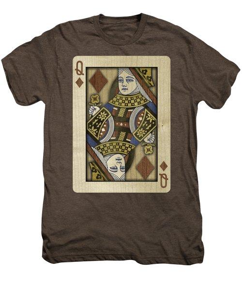 Queen Of Diamonds In Wood Men's Premium T-Shirt