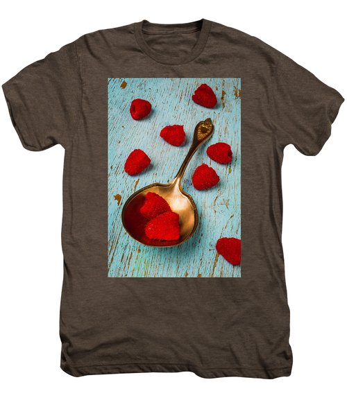 Raspberries With Antique Spoon Men's Premium T-Shirt by Garry Gay
