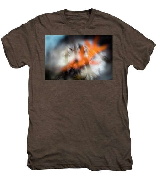 Reflection Of Trees Over An Oak Leaf Encased In Water And Ice Men's Premium T-Shirt