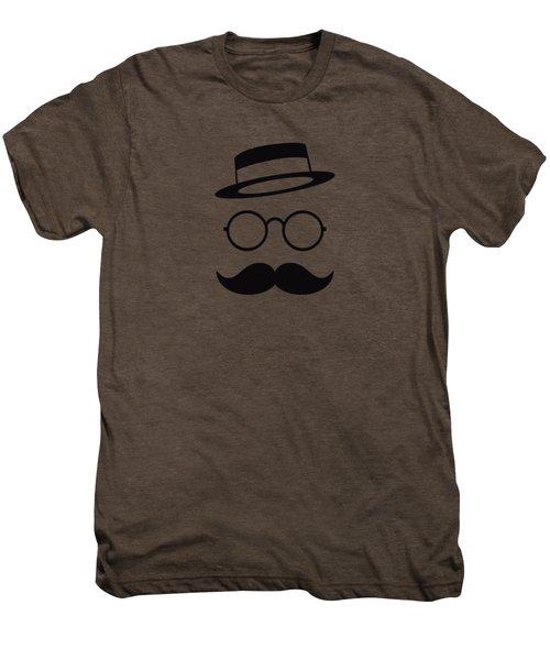 Retro Minimal Vintage Face With Moustache And Glasses Men's Premium T-Shirt