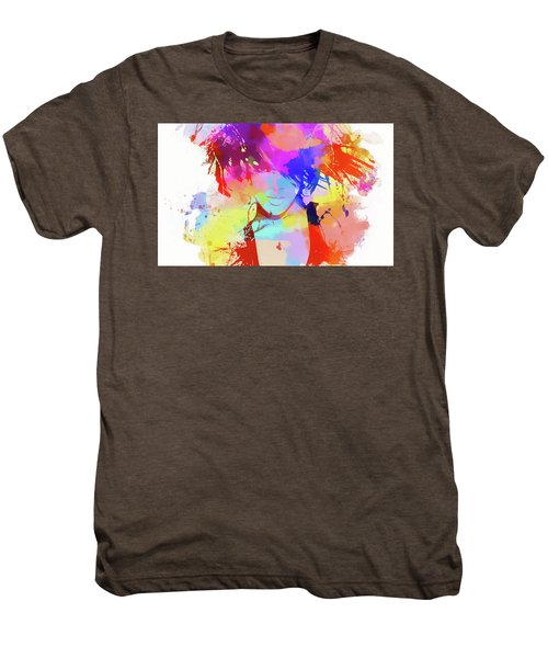 Rihanna Paint Splatter Men's Premium T-Shirt by Dan Sproul