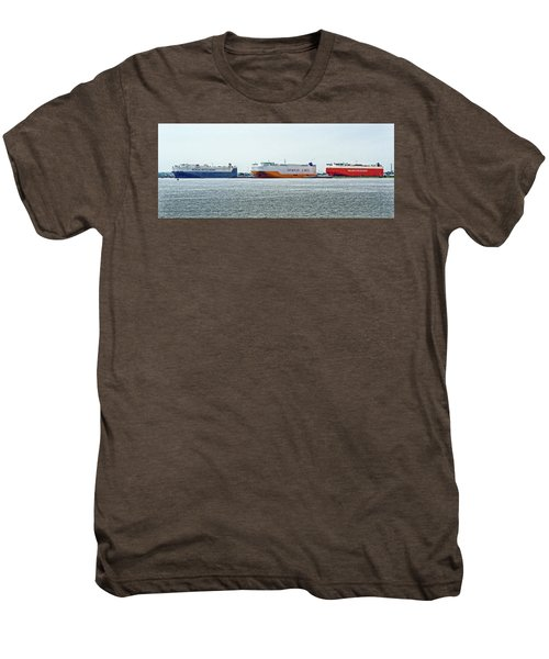 Men's Premium T-Shirt featuring the photograph Ro Ro Freighters Lined Up At Curtis Bay by Bill Swartwout Fine Art Photography