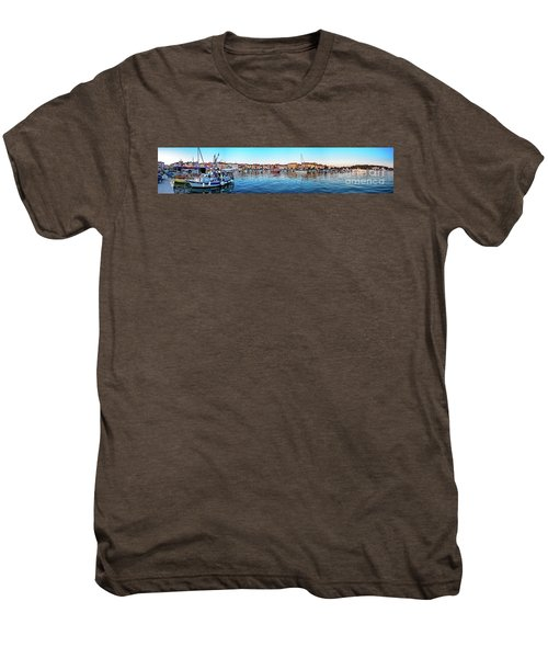 Rovinj Harbor And Boats Panorama Men's Premium T-Shirt