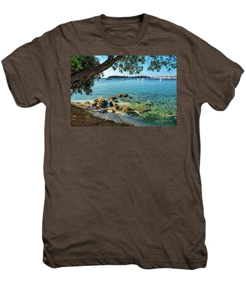 Rovinj Old Town, Harbor And Sailboats Accross The Adriatic Through The Trees Men's Premium T-Shirt