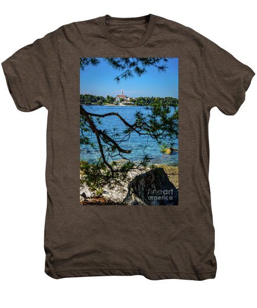 Rovinj Seaside Through The Adriatic Trees, Istria, Croatia Men's Premium T-Shirt
