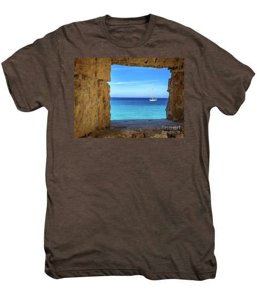 Sailboat Through The Old Stone Walls Of Rhodes, Greece Men's Premium T-Shirt