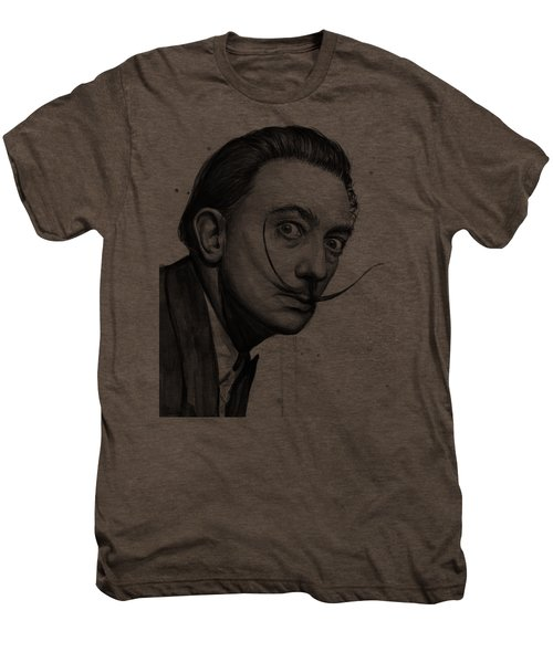 Salvador Dali Portrait Black And White Watercolor Men's Premium T-Shirt