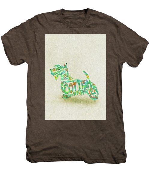 Scottish Terrier Dog Watercolor Painting / Typographic Art Men's Premium T-Shirt