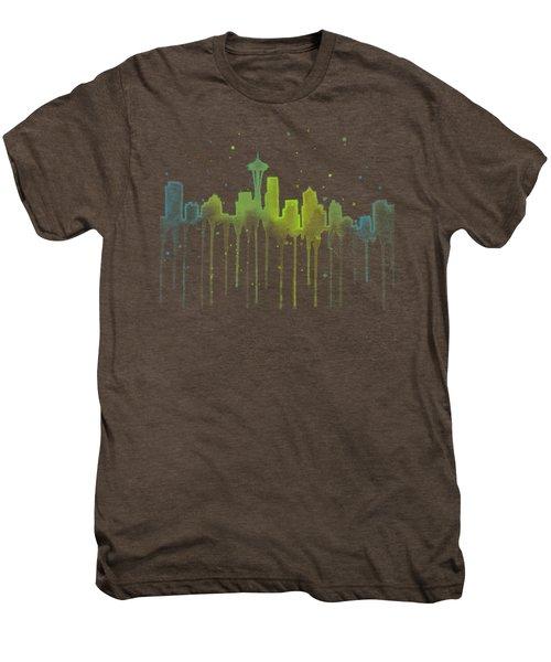 Seattle Skyline Watercolor  Men's Premium T-Shirt