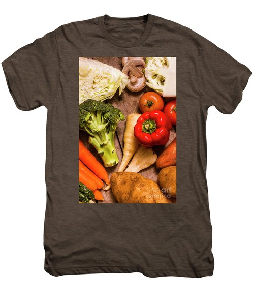Selection Of Fresh Vegetables On A Rustic Table Men's Premium T-Shirt