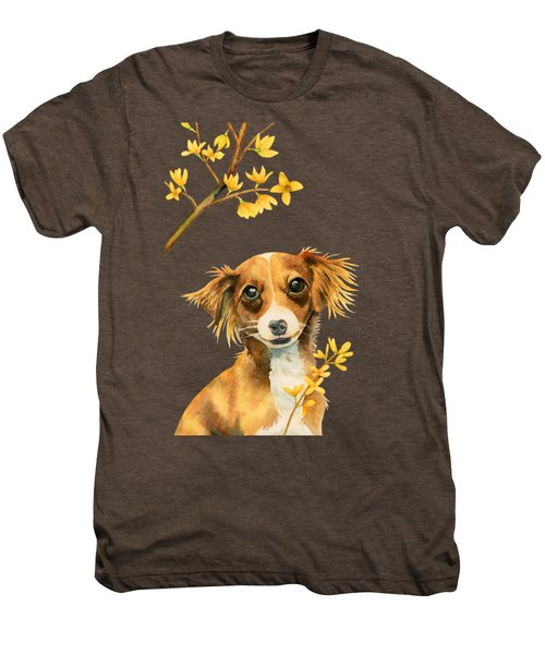 Signs Of Spring - Cute Dog With Forsythia Watercolor Painting Men's Premium T-Shirt
