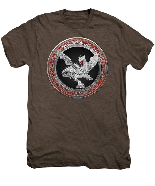 Silver Guardian Dragon Over Red Velvet  Men's Premium T-Shirt