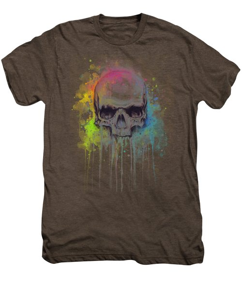 Skull Watercolor Painting Men's Premium T-Shirt