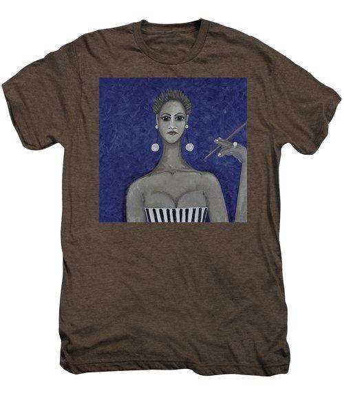 Smoking Woman 3 - Blue Men's Premium T-Shirt
