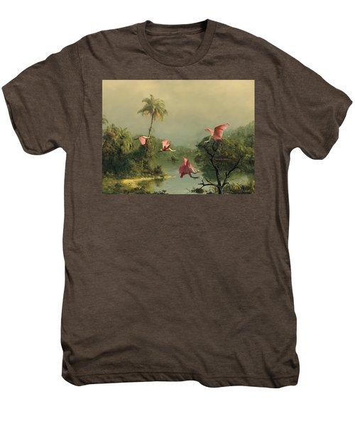 Spoonbills In The Mist Men's Premium T-Shirt by Spadecaller