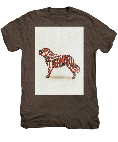 St. Bernard Dog Watercolor Painting / Typographic Art Men's Premium T-Shirt