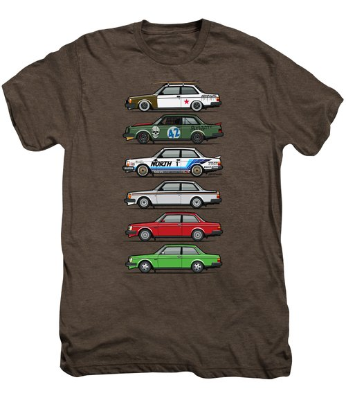 Stack Of Volvo 242 240 Series Brick Coupes Men's Premium T-Shirt by Monkey Crisis On Mars