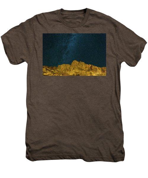 Starry Night Sky Over Rocky Landscape Men's Premium T-Shirt