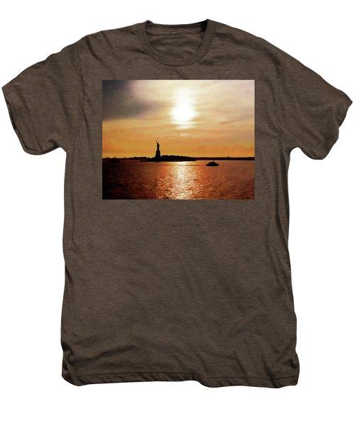 Statue Of Liberty At Sunset Men's Premium T-Shirt