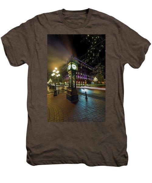 Steam Clock In Gastown Vancouver Bc At Night Men's Premium T-Shirt