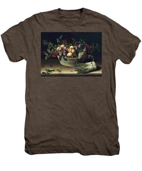 Still Life With A Basket Of Fruit And A Bunch Of Asparagus Men's Premium T-Shirt