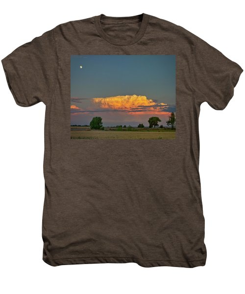 Men's Premium T-Shirt featuring the photograph Summer Night Storms Brewing And Moon Above by James BO Insogna