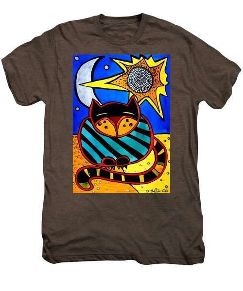 Sun And Moon - Honourable Cat - Art By Dora Hathazi Mendes Men's Premium T-Shirt
