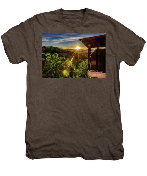 Sunburst View From Dellas Boutique Hotel Near Meteora In Kastraki, Kalambaka, Greece Men's Premium T-Shirt