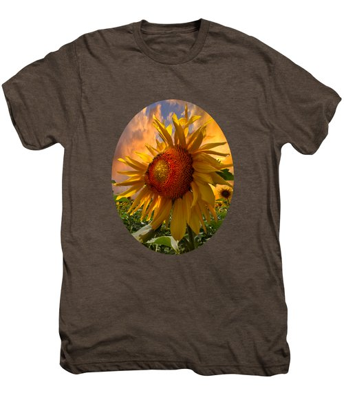 Sunflower Dawn In Oval Men's Premium T-Shirt