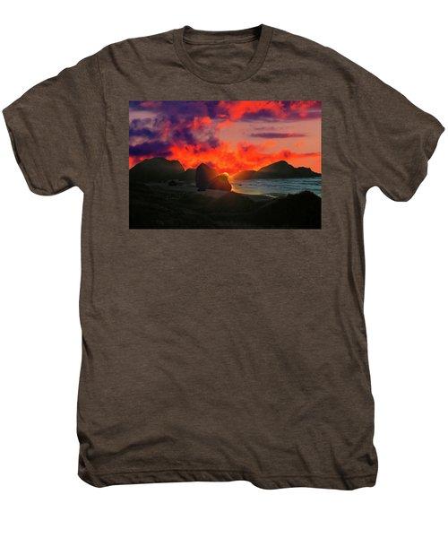 Sunset At Oregon Beach Men's Premium T-Shirt
