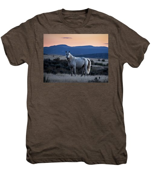 Sunset With Wild Stallion Tripod In Sand Wash Basin Men's Premium T-Shirt