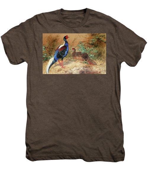 Swinhoe's Pheasant  Men's Premium T-Shirt by Joseph Wolf
