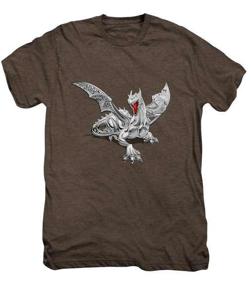 The Great Dragon Spirits - Silver Guardian Dragon On Black And Red Canvas Men's Premium T-Shirt by Serge Averbukh