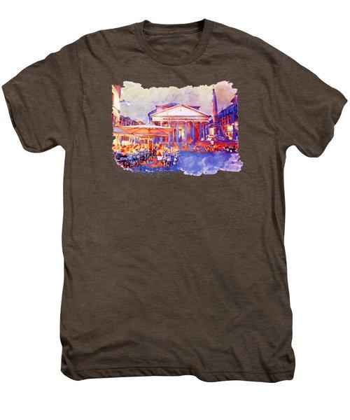 The Pantheon Rome Watercolor Streetscape Men's Premium T-Shirt