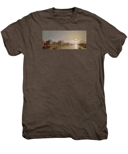 The Thames By Moonlight With Traitors' Gate And The Tower Of London Men's Premium T-Shirt