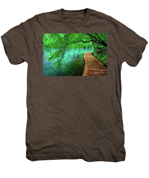 Tree Hanging Over Turquoise Lakes, Plitvice Lakes National Park, Croatia Men's Premium T-Shirt