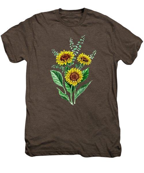 Three Playful Sunflowers Men's Premium T-Shirt