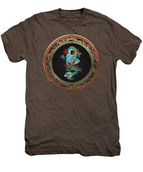 Treasure Trove - Turquoise Dragon Over Red Velvet Men's Premium T-Shirt