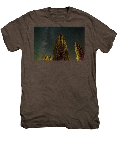 Trees Under The Milky Way On A Starry Night Men's Premium T-Shirt