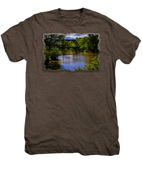 Men's Premium T-Shirt featuring the photograph Trestle Over River by Mark Myhaver