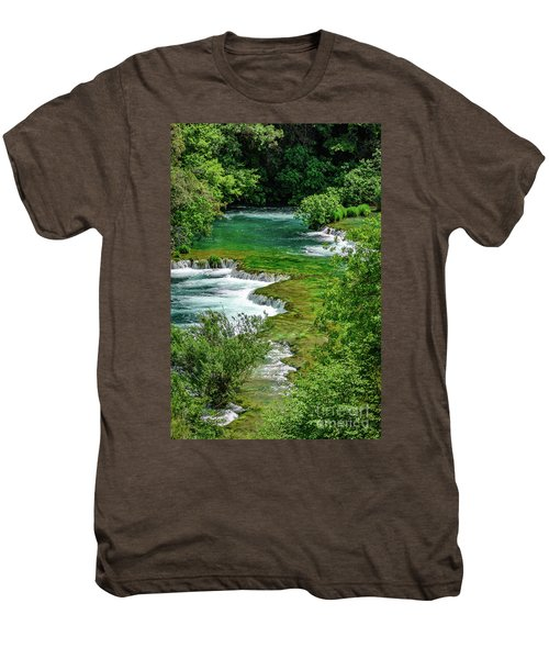 Turqouise Waterfalls Of Skradinski Buk At Krka National Park In Croatia Men's Premium T-Shirt