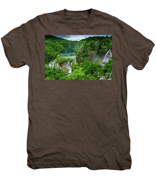 Turquoise Lakes And Waterfalls - A Dramatic View, Plitivice Lakes National Park Croatia Men's Premium T-Shirt