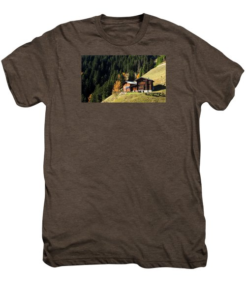 Two Chalets On A Mountainside Men's Premium T-Shirt
