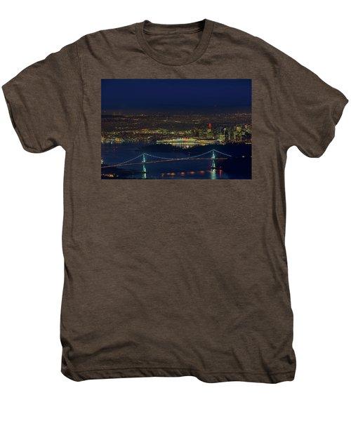 Vancouver Bc Cityscape By Lions Gate Bridge Men's Premium T-Shirt