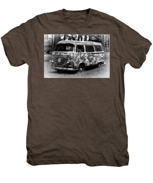 Men's Premium T-Shirt featuring the photograph Volkswagen Microbus Nostalgia In Black And White by Bill Swartwout Fine Art Photography