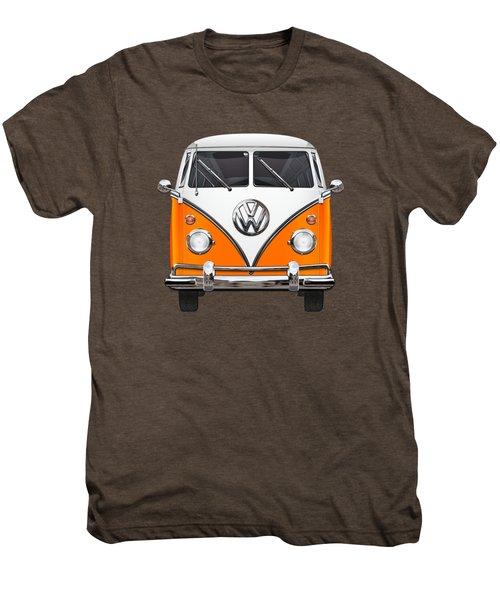 Volkswagen Type - Orange And White Volkswagen T 1 Samba Bus Over Blue Canvas Men's Premium T-Shirt